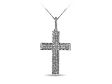 Cross With Diamonds in White Gold