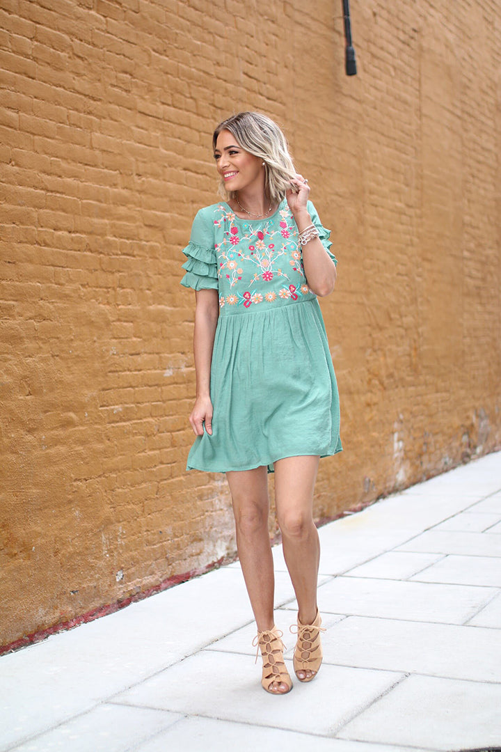 Darya Embroidered Dress  - Sage - Barefoot Dreamer
