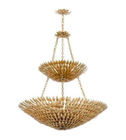 Crystorama 599-GA Broche 18 Light Antique Gold Leaf Pendant Chandelier - PeazzLighting