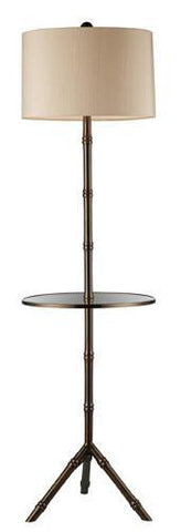 Dimond D1403D Stanton Floor Lamp In Dunbrook With Glass Tray And Cream Shade - PeazzLighting