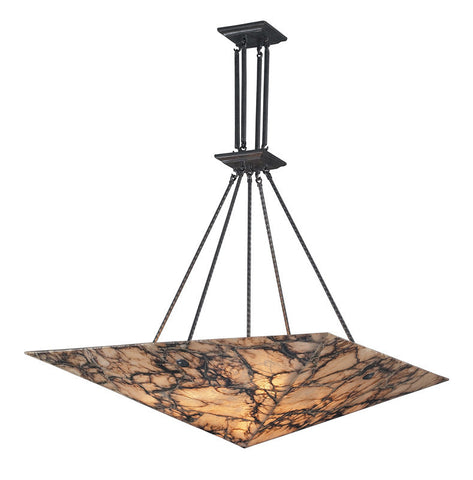ELK Lighting Imperial Granite 9 Light Pendant In Antique Brass And Veined Stone - 9010/9 - PeazzLighting