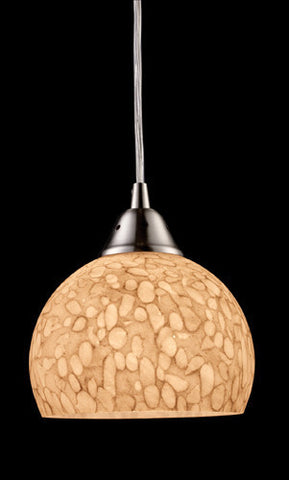 ELK Lighting 10143-1Pw Cira One Light Pendant In Satin Nickel And Pebbled Gray-White Glass - PeazzLighting