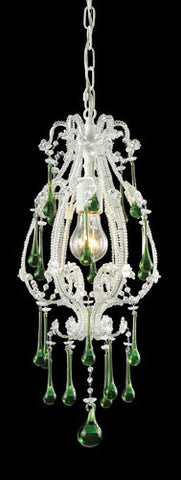 ELK Lighting 12003-1Lm Opulence One Light Pendant In Antique White And Lime Crystals - PeazzLighting