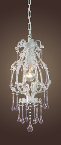 ELK Lighting 12003-1Rs Opulence One Light Pendant In Antique White And Rose Crystals - PeazzLighting