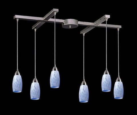ELK Lighting 110-6Sw Six Light Pendant In Satin Nickel And Snow White Glass - PeazzLighting