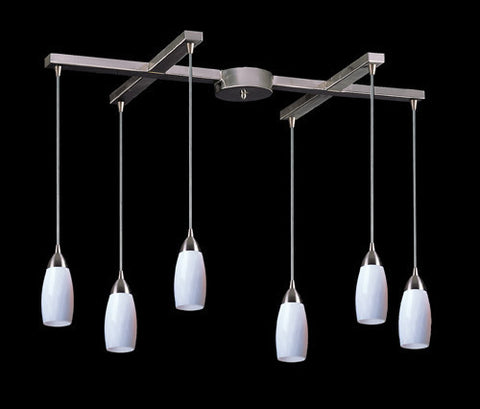 ELK Lighting 110-6Wh Six Light Pendant In Satin Nickel And Simply White Glass - PeazzLighting