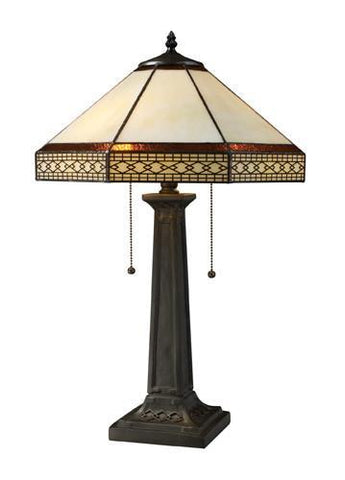 Dimond D1858 Stone Filigree 2 Light Table Lamp In Tiffany Bronze With Tiffany Glass Shade - PeazzLighting