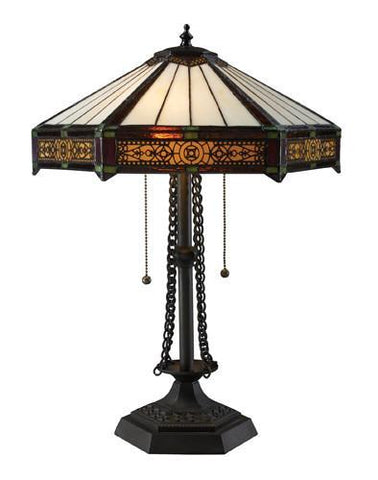 Dimond D1852 Filigree 2 Light Table Lamp In Tiffany Bronze With Tiffany Glass Shade - PeazzLighting