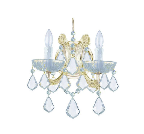Crystorama 4472-GD-CL-SAQ 2-Lights Maria Theresa Wall Mount Draped In Swarovski Spectra Crystal - Gold - PeazzLighting
