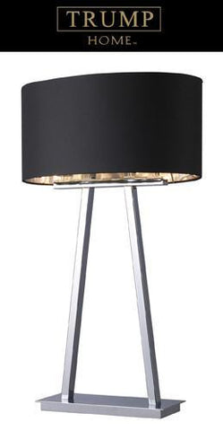 Dimond D1479 Empire 2 Light Table Lamp In Chrome With Oval Black Shade And Silver Liner - PeazzLighting