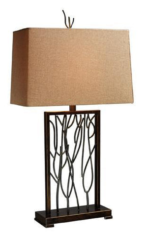 Dimond D1518 Belvior Park Table Lamp In Aria Bronze And Iron With Textured Beige Linen Shade And Golden Liner - PeazzLighting