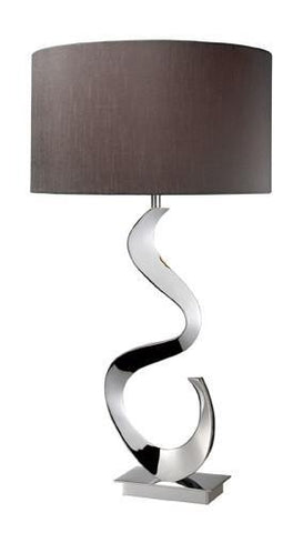 Dimond D1820 Morgan Table Lamp In Chrome With Grey Faux Silk Shade And Grey Liner, Solid Brass Construction - PeazzLighting