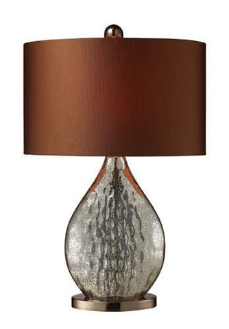 Dimond D1889 Sovereign Table Lamp In Antique Mercury And Coffee Plating With Oval Copper Faux Silk Shade And Bright Copper Liner - PeazzLighting