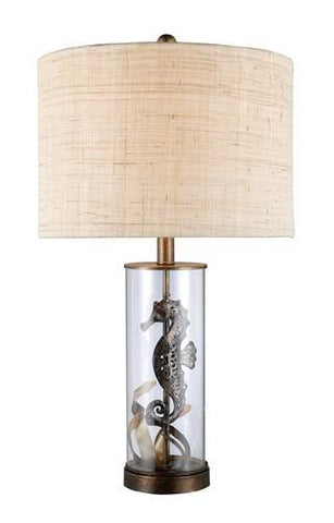 Dimond D1980 Largo Table Lamp In Bronze And Clear Glass With Natural Linen Shade And Cream Liner - PeazzLighting