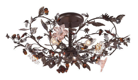 ELK Lighting 7046-3 Three Light Semi Flush In Deep Rust And Hand Blown Florets - PeazzLighting