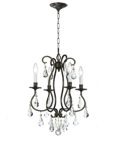 Crystorama Clear Hand Cut Crystal Chandelier 4 Lights - English Bronze - 5014-EB-CL-MWP - Peazz.com