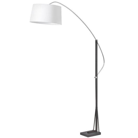Dainolite 585F-PC-BK Arc Floor Lamp w/wht Linen Shade - Peazz.com