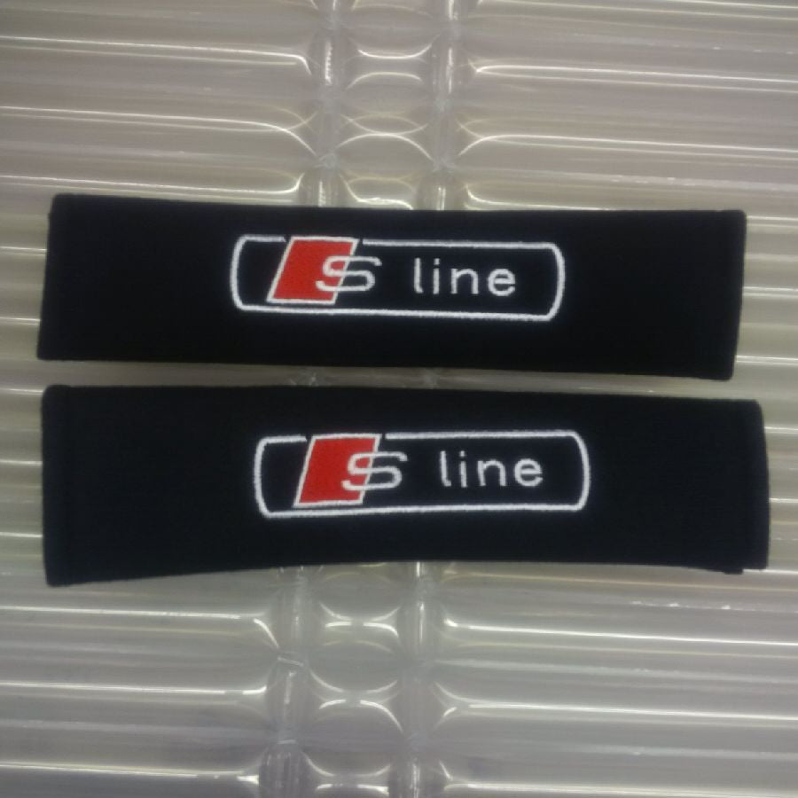 S-Line embroidered padded seat belt covers.