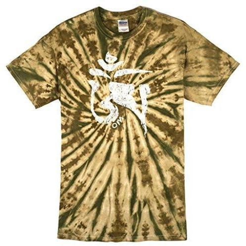 Mens Tibet OM Camo Tie Dye Tee Shirt - Yoga Clothing for You