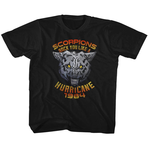 Scorpions Toddler T-Shirt Rock You Like a Hurricane Wolf Black Tee
