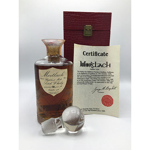 1936 MORTLACH 50YO, G&M SHIELD LABEL CRYSTAL DECANTER, 750ml, 40%, with Original Box and Certificate