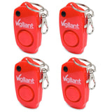 Vigilant Personal Alarm Keychain 4-Pack Value Bundle (Red)