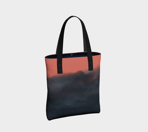 indigo and coral tote bag features multiple interior pockets - one with a zipper