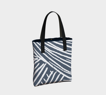 Load image into Gallery viewer, blue and white abstract printed vertical lined tote bag with zipper pocket