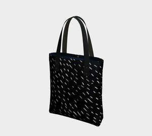 rain pattern deluxe tote bag in black and white