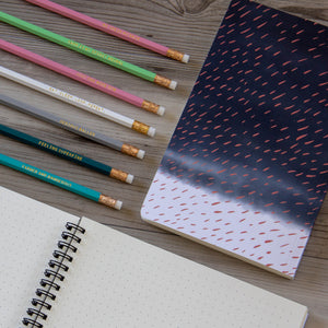 Notebook with Coral Rain on Indigo Clouds - plain, graph, or bullet journal