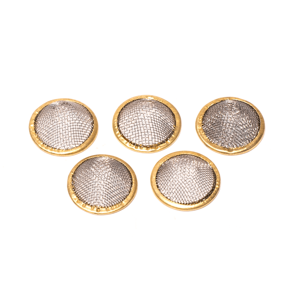 5 PACK - BRASS RIM MESH PIPE SCREENS