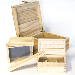 WOOD ROLLING STORAGE BOX EXTRA LARGE 225 x 225 x 100MM
