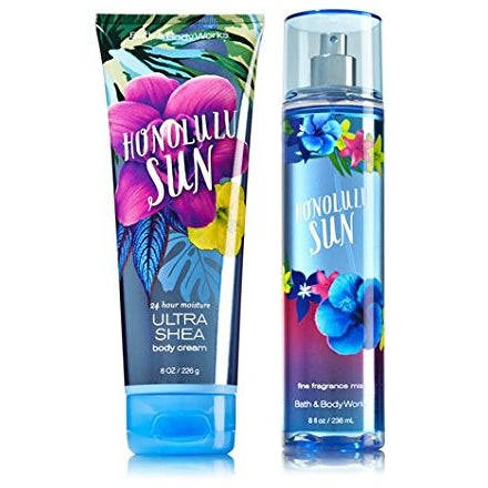 Bath & Body Works Signature Collection HONOLULU SUN Gift Set Ultra Shea Body Cream & Fine Fragrance Mist - Tropically Inclined