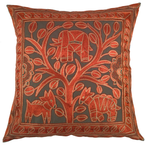 Namib Rust Elephant in a Floral Tree Monochrome Cushion Cover