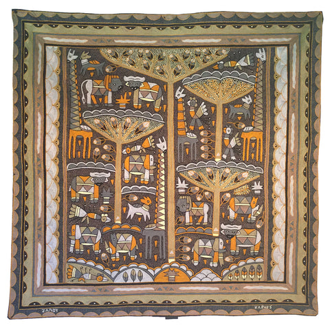 Ode to the African Savannah Mopani Forrest Embroidered Cloth
