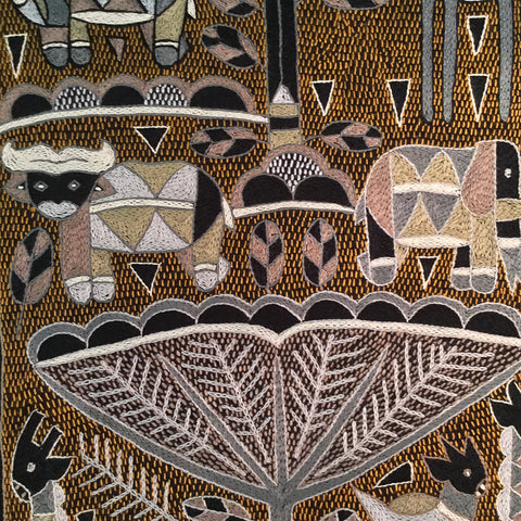 Ode to the African Savannah With Animals Grazing Embroidered Cloth