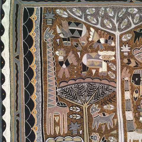 Ode to the African Savannah Tall Silverwood Embroidered Cloth