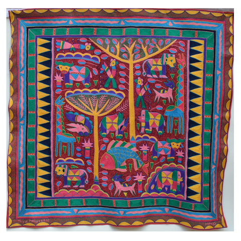 Shangaan Love Vibrant Yellow Mopanie Trees Embroidered Cloth