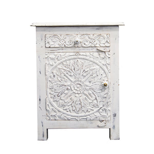 white carved bedside table