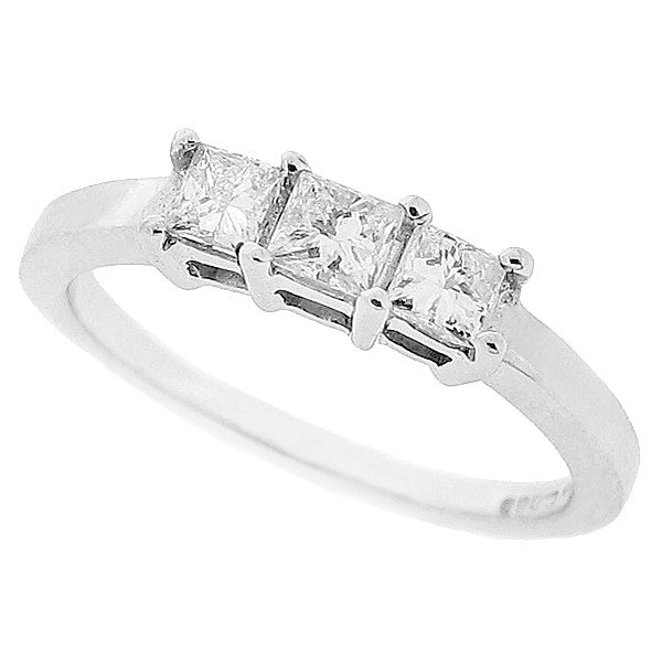 Princess cut diamond three stone ring in 18ct white gold, 0.51ct