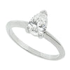 Pear shape diamond solitaire ring in platinum, 0.62ct.