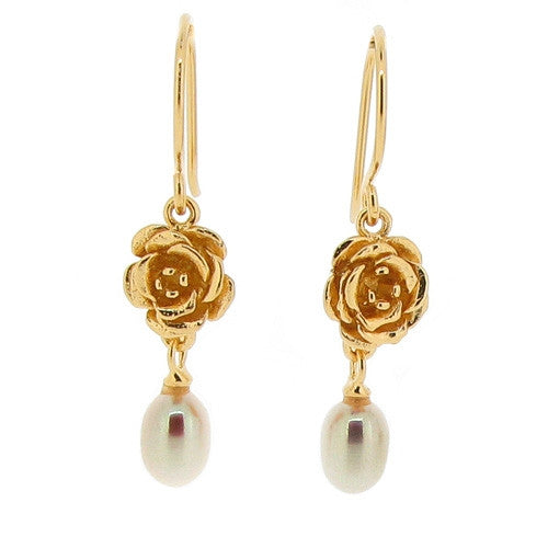 Earrings - Vintage Rose earrings with freshwater pearls in silver with gold vermeil  - PA Jewellery