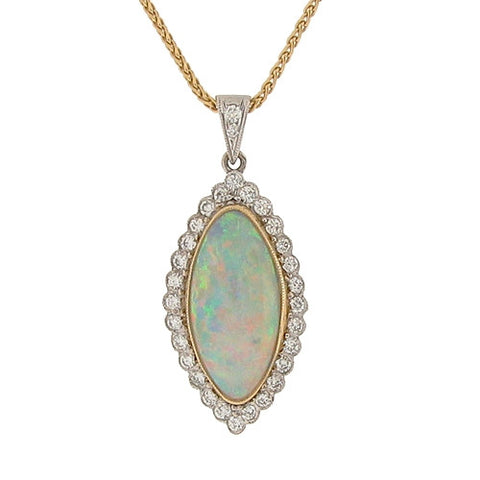 Neckwear - Opal and diamond pendant and chain in 18ct gold  - PA Jewellery