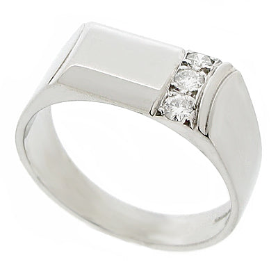 Diamond set domed gents' ring in 9ct white gold