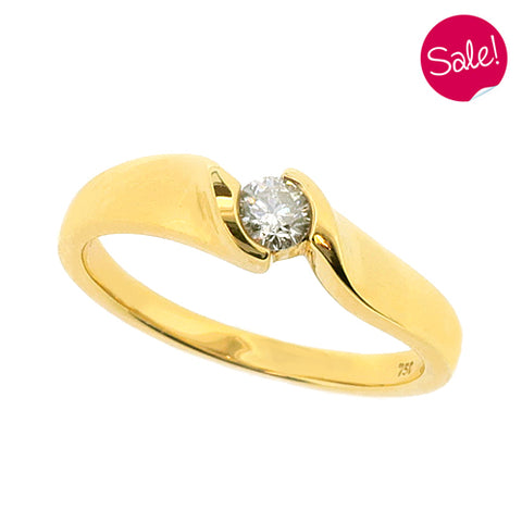 Brilliant cut diamond twist solitaire ring in 18ct gold, 0.15ct