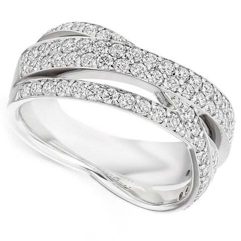 Ring - Diamond multi band crossover ring in 18ct white gold, 1.15ct  - PA Jewellery