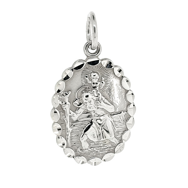 Oval St Christpher pendant in silver