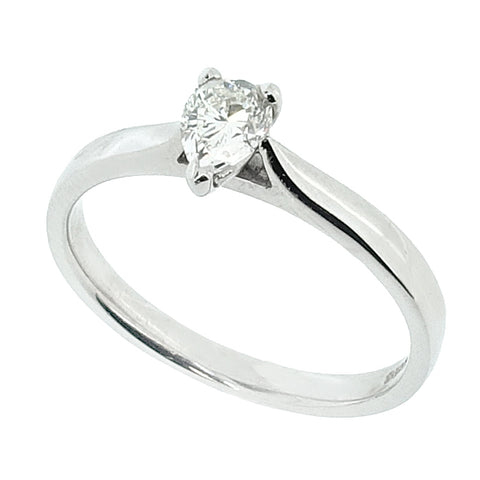 Pear shape diamond solitaire ring in 18ct white gold, 0.33ct