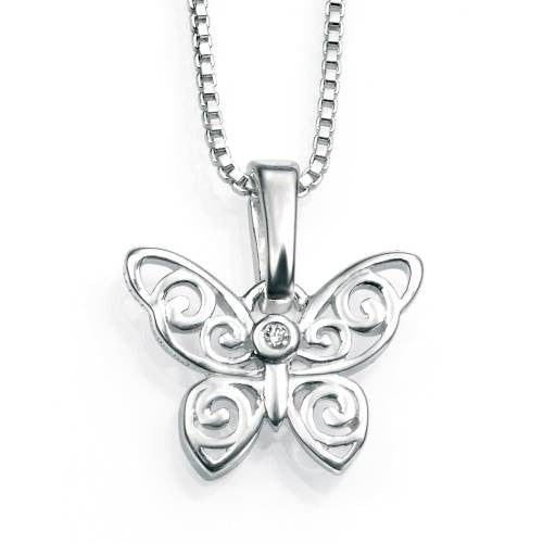 Neckwear - Butterfly pendant and chain in silver  - PA Jewellery