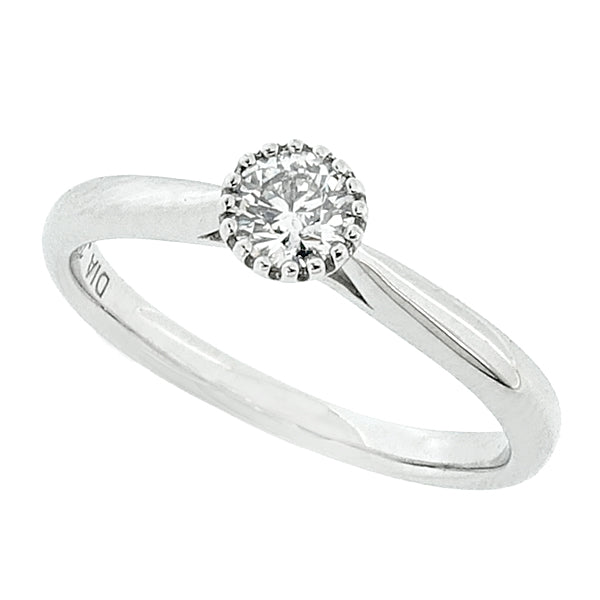Brilliant cut diamond solitaire ring in 9ct white gold, 0.25ct